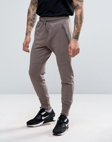 Pull&Bear Skinny Joggers With Zip Detail In Khaki
