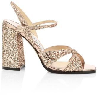 Jimmy Choo Joya Glitter Leather Sandals