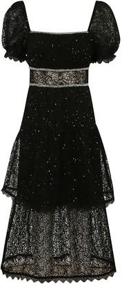 Self-Portrait Sequin Circle Lace Midi Dress