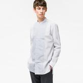 Paul Smith Men's Light Blue Contrast-Print Panel Band-Collar Shirt