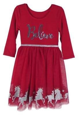 Zunie Little Girl's Unicorn Sequin Mesh Skirt Tutu Dress