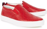 Gucci Gg Red Embossed Leather Skate Shoes