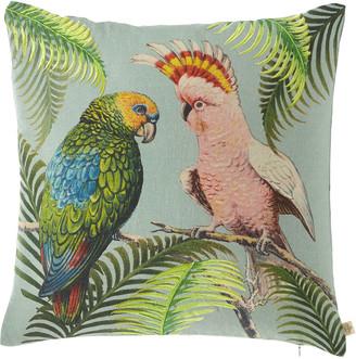 John Derian Parrot & Palm Azure Pillow