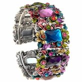 PammyJ Multi Colored Flower Hinged Bangle Bracelet