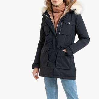 Schott Mid-Length Parka with Faux Fur Hood and Pockets