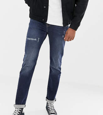 Jacamo Tall skinny fit jeans in Crosshatch-Navy