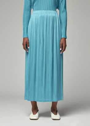 Pleats Please Issey Miyake Women's Long Straight Skirt in Sky Blue Size 1