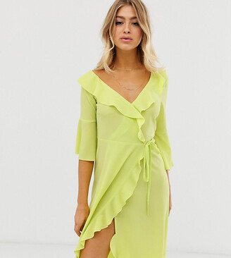 Outrageous Fortune one shoulder ruffle wrap midi dress with fluted sleeve in lime