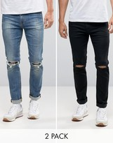 Asos Skinny Jeans 2 Pack In Black With Knee Rips & Mid Blue With Knee Rips