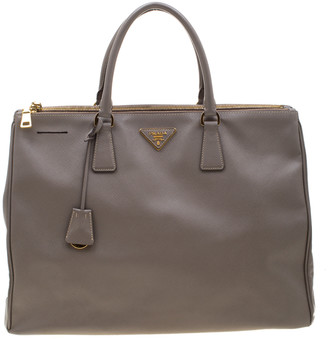 Prada Grey Saffiano Lux Leather Large Gardener's Tote