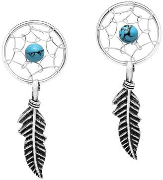 Aeravida Handmade Blue Turquoise Dreamcatcher Feather Sterling Silver Dangle Earrings