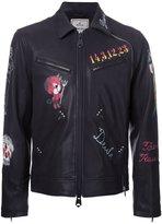 Miharayasuhiro multi-print zipped jacket - men - Leather - 46