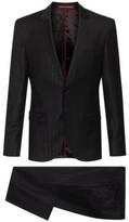 HUGO BOSS - Extra Slim Fit Wool Blend Suit With Metallic Stripes - Black