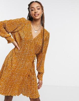Vero Moda wrap pleated mini dress in brown