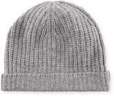 Neiman Marcus Cashmere Ribbed Cuffed Beanie Hat
