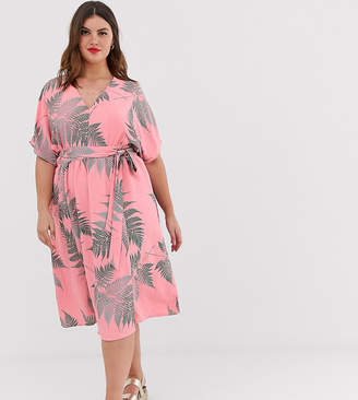 Glamorous Curve midi tea dress with tie waist in palm print-Pink