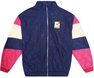 Gucci Kids Cotton-blend lace track jacket
