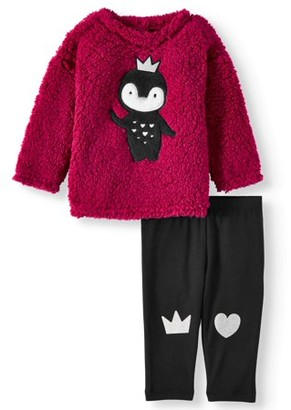 Wonder Nation Baby Girl Sherpa Top and Leggings, 2pc Outfit Set