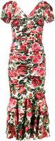 Dolce & Gabbana rose print ruched midi dress - women - Silk/Spandex/Elastane - 42