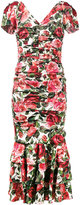 Dolce & Gabbana rose print ruched midi dress - women - Silk/Spandex/Elastane - 46