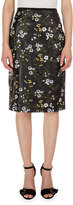 Erdem Aysha Floral-Print Leather Pencil Skirt, Black