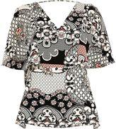 River Island Womens Black floral print cape back top
