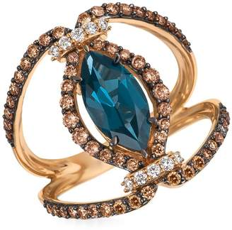LeVian Le Vian Deep Sea Blue Topaz Vanilla and Chocolate Diamond 14k Strawberry Gold Pendant Ring