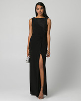 Le Château Lace & Knit Scoop Neck Ruched Gown