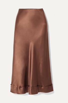 Lee Mathews Stella Picot-trimmed Silk-satin Midi Skirt - Chocolate