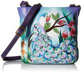 Anuschka Anna By Anna by Women's Genuine Leather Medium Cross Body | Hand Painted Original Artwork | Midnight Peacock One Size