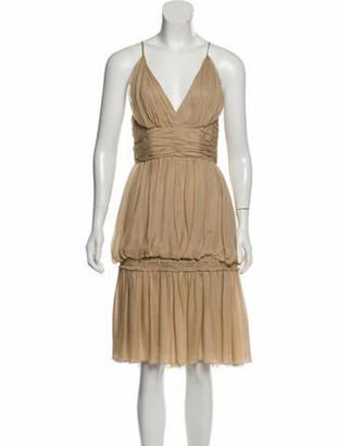 Chanel Silk Midi Dress Tan