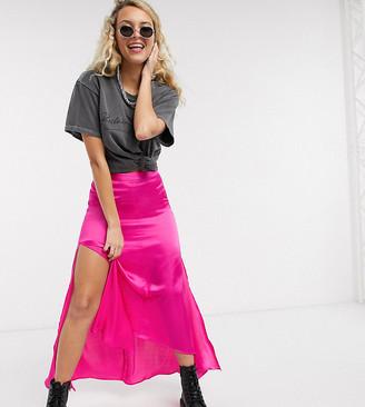 Reclaimed Vintage inspired skirt in satin with hi low hem in pink