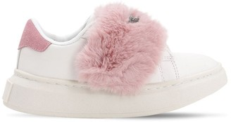 Colors of California Faux Fur Pompom Strap Sneakers
