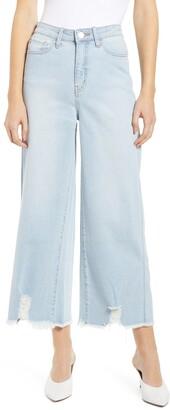 Prosperity Denim Fray Hem Wide Leg Crop Jeans