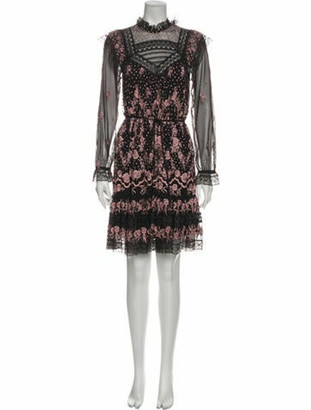 Needle & Thread Lace Pattern Knee-Length Dress Black