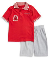 Nannette Boys 2-7 Little Boys Textured Polo and Shorts Set