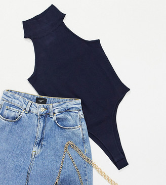 4th + Reckless Petite high neck knitted body co-ord in navy