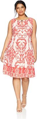 Gabby Skye Women's Plus Size Tribal Printed a-Line Dress