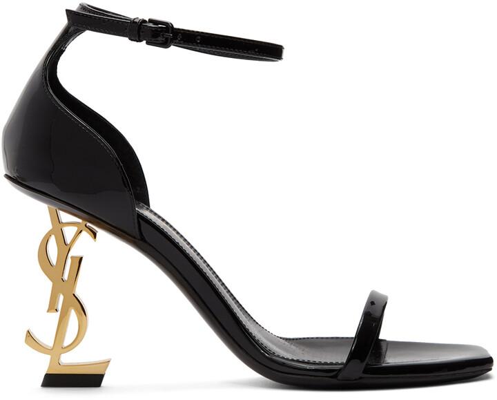 Saint Laurent Black Patent Opyum 85 Sandals