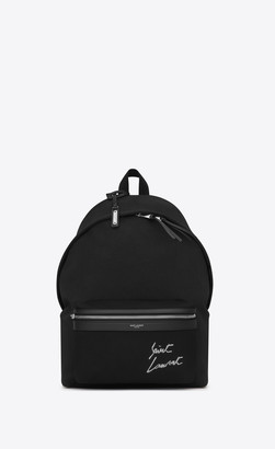 Saint Laurent Embroidered City Backpack In Canvas Black And White Onesize