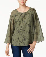 Kensie Printed Scoop-Neck Top