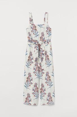 H&M Linen-blend Jumpsuit - White