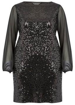 Dorothy Perkins Womens **Billie & Blossom Curve Black Sequin Shift Dress, Black