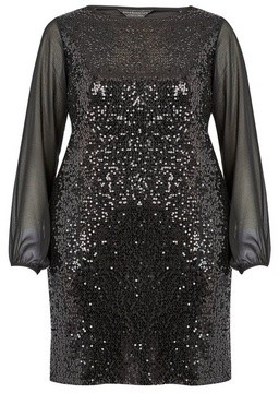 Dorothy Perkins Womens **Billie & Blossom Curve Black Sequin Shift Dress, Black