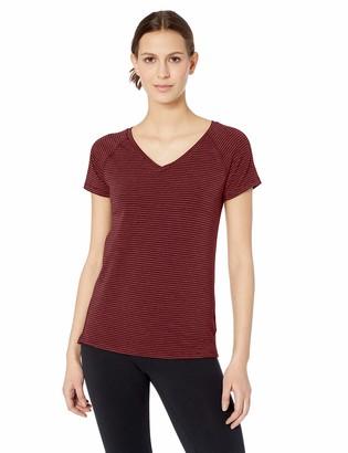 Amazon Essentials Women's Studio Short-Sleeve Lightweight V-Neck T-Shirt -wild ginger stripe Medium