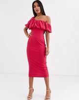 Asos Design DESIGN one shoulder bubble bodycon midi dress