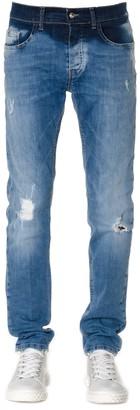 Frankie Morello Distressed Blue Cotton Denim Jeans