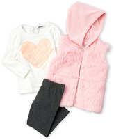 DKNY Toddler Girls) 3-Piece Faux Fur Vest & Leggings Set