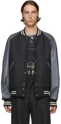 Dries Van Noten Grey Wool Bomber Jacket