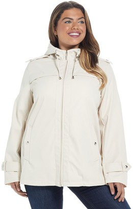 Plus Size Weathercast Hooded A-Line Windbreaker Jacket